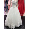 2016 Ball Gown Soft Tulle wedding dress with Emroidered Lace Sequins Beads Crystals Sweetheart Neck A094