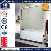 Puerta de ducha de vidrio deslizante de aluminio