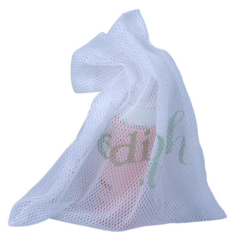 Custom White Cosmetic Candy Mesh Drawstring Pouch Bag