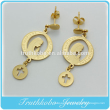 2016 New Style Stainless Steel Blessed Virgin Mary Gold Magnetic Earrings