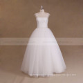 Cap Sleeve Boat Neck Tulle Beaded Trim Crystal Beads For Wedding Dress