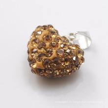 2014 ventes chaudes Shamballa Pendant Vente en gros Coeur Forme Nouveauté 15MM Brown Crystal Clay Pendant For DIY Jewelry