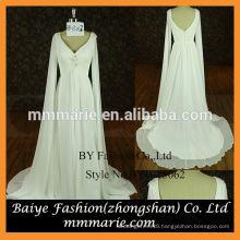 Ivory chiffon fabric wedding dress sexy v neck long sleeves bridal gown wedding dresses