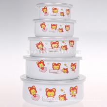 2015 cheap enamel ice bowl with PE lids& cartoon