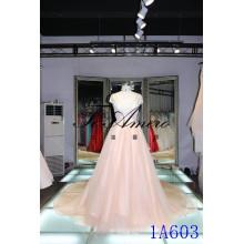 Guanzhou Una línea princesa tipo vestidos cremoso sexu espalda abierta vestido de noche champaña tapa manga vestido de novia rosa
