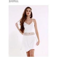 Summer New European and American Women′s V-Neck Harness Dresses Sexy Waist Halter Stitching a Dress