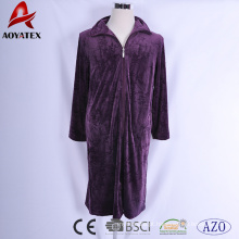 Super comfortable micromink robe embossed flower zipper bathrobe