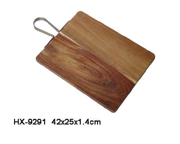 acacia wood cutting board with metal handle