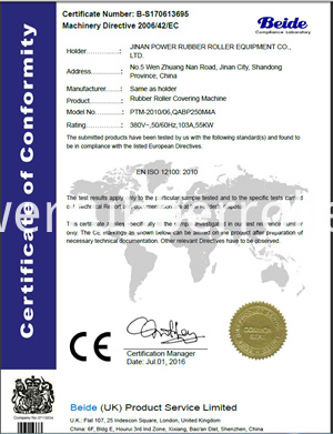 Rubber Roller Covering Machine 13695 Md Certificate