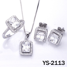 Bridal Jewelry 925 Silver Cubic Zirconia Wedding Jewellery Set.