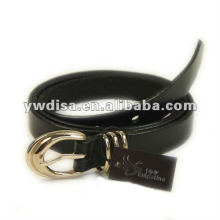 Black Plain Leather Belt With Gold Plated Buckle