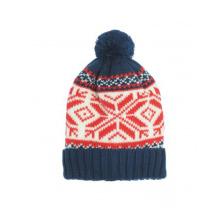 Orange and Blue Beanie Hat with POM POM