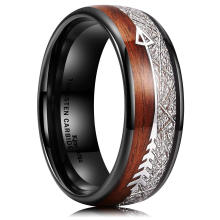 Custom Hot Selling Amazon Wish Sources Of Jewelry White Silk Wood Grain Arrow Ring Men's Fashion Ring Accessories