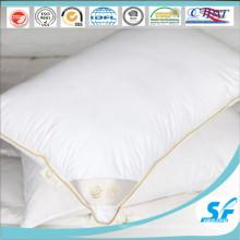 Подушка с перьями из гусиного пуха, прочная подушка из хлопковой ткани, с золотой атласной окантовкой