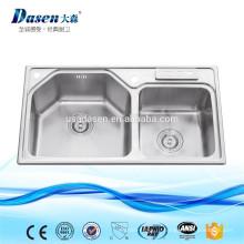 DS8448 Кемпер газовая плита из нержавеющей стали кухонная раковина с раковиной drainer тарелки мыть