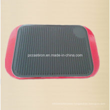 Preseasoned Cast Iron Griddle Plate with Enamel Handle Supplier