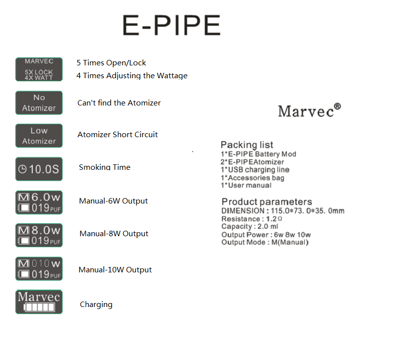 Marvec E Pipe Pod Vape