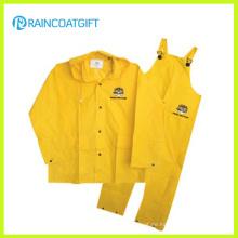 Wasserdichter gelber PVC / Polyester PVC-Männer Regenanzug Rpp-030A