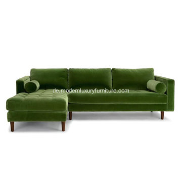 Sven Green Fabric Left Schnittsofa