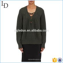 Manga larga con cuello en V, suéter de lana, nuevo diseño para el suéter de las señoras