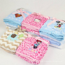 Flannel Embroidered Spring and Autumn and Winter Newborn Baby Blanket