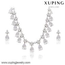 63938 Xuping beautiful luxury jewelry set color rhodium plated bridal jewelry set