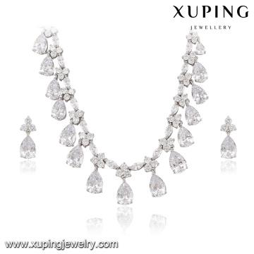 63938 Xuping belo conjunto de jóias de luxo cor ródio banhado conjunto de jóias de noiva