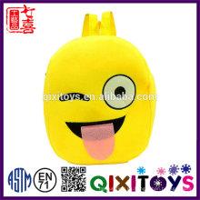 Mochila emoji de la venta caliente de la mochila del diseño popular 2017 mochila emoji de la felpa interesante para los niños
