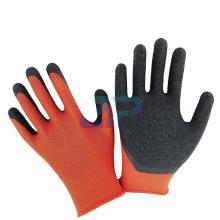 13G Red Polyester Liner Black Latex Crinkle Coated Gloves for Construction