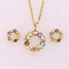 14k oro plateado piedras multicolor joyas de moda conjunto (62131)