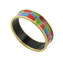 Jóias de aço inoxidável de moda 2014, braceletes de esmalte com maciço colorido, jóias de esmalte