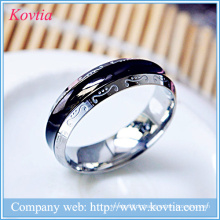 Pour toujours amour anneau pour homme en acier titane anneau noir en or blanc métal O ring