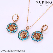 61804 Xuping new design 18k gold plated zircon jewelry set