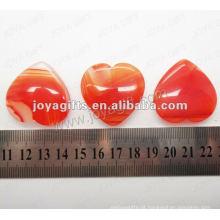 35MM Coração forma vermelha pedra de ágata, alta polida, de alta qualidade, pedra forma natural coração