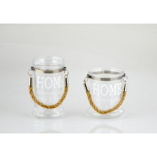 Glass Candle Holder with Jute Rope Handle