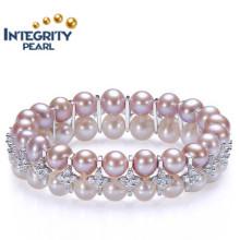 Nouveau bracelet en perles de conception 8-9mm AAA à la ronde double ronde en argent sterling Bracelet en perle colorée en couleur mixte