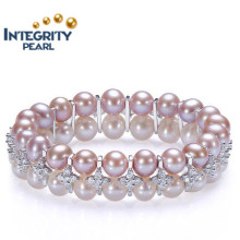 New Design Pearl Bracelet 8-9mm AAA Near Round Double Rows Sterling Silver Mixed Color Pearl Bracelet