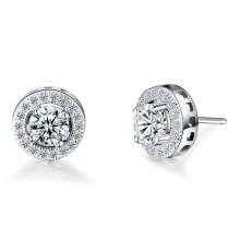925 sterling silver simple single diamond men earring