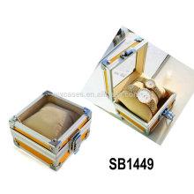 cajas de reloj de aluminio para reloj solo con una tapa de cristal y una almohada dentro