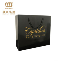 Factory Wholesale Custom Black Fancy Glossy Hot Stamping Rope Handles China Gift Paper Bag Manufacturers