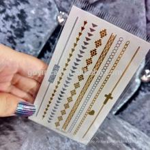 Современные Женщины, Используя Безопасный Материал Металлический Съемный Стикер Татуировки Кожи