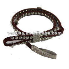 Red Rhinestones Leather Belt For Woman