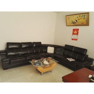 U forma couro sofá, sofá moderno, sofá de cor preta (A302)