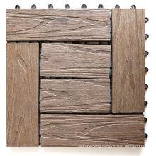 Deep Embossed 3D Wood Floor Tile WPC Composite Interlocking DIY Snap Tile