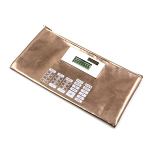 8 Digit Dual Power Colorful Leather Wallet Calculator