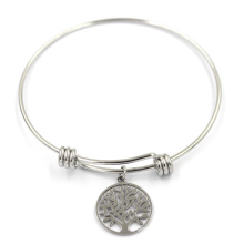 Silver Plated Metal Alloy Expandable Family Tree Charm Bangle Bracelet