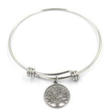 Silver Plated Metal Alloy Expandable Family Tree Charm Bangle Bracelet