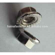 DIN6923 a4-70 Cerradura de acero inoxidable Tuerca de brida dentada