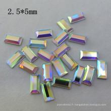 2.5 * 5mm Ab Crystal Rectangle Hotfix Strass pour la vente en gros