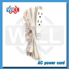 3 tomacorrientes blanco de extensión cable de alimentación con UL